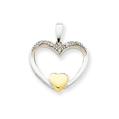 Jewelryweb 14k Two-tone Diamond Heart Pendant