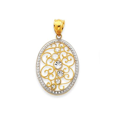 Jewelryweb 14K Two-tone Filigree Pendant