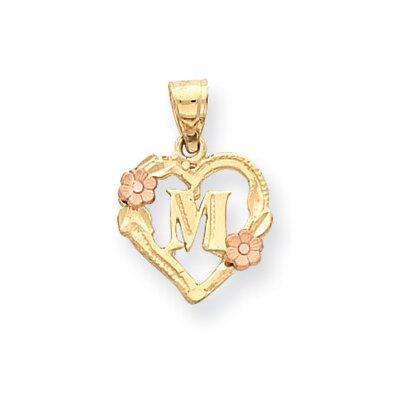14k Two-Tone Satin Diamond-Cut Heart with Initial M Pendant- Measures 21.2x14.7mm