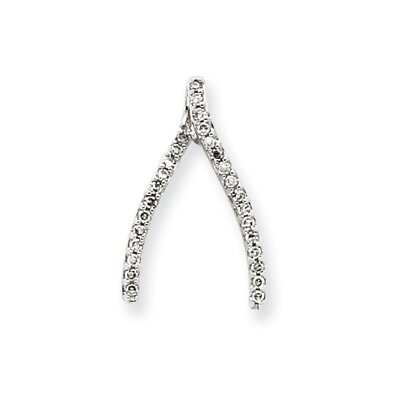 Jewelryweb 14k White Gold Diamond Wishbone Pendant
