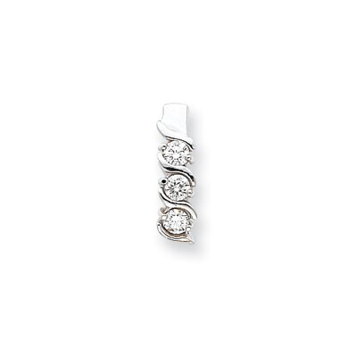 Jewelryweb 14k White Gold Moissanite Three stone pendant