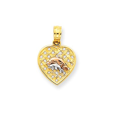 Jewelryweb 14k Yellow and Rose Gold With Rhodium Dolphins Pendant