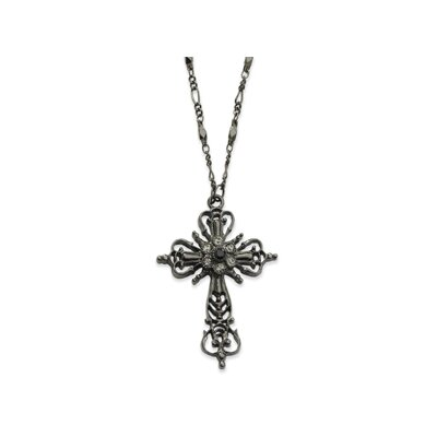 Black-plated Black Crystal Cross 30 InchNecklace