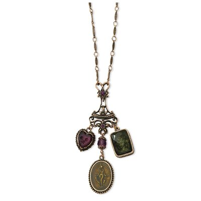 Burnish Copper-tone Prpl Grn Crystal Enameled 30 In Necklace
