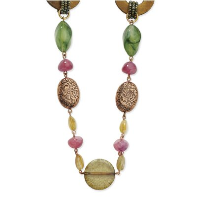 Copper-tone Jade Amethyst Tan Bead Brown Iris Disc Necklace