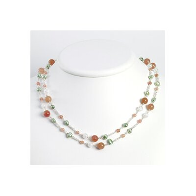 Jewelryweb Jasper Crackle Lt Green Cult. Pearl Necklace - 56 Inch