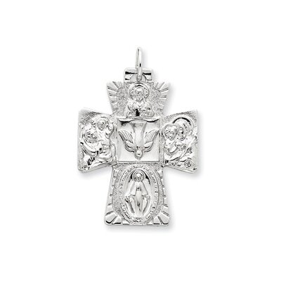 Jewelryweb Sterling Silver 4-way Medal Pendant