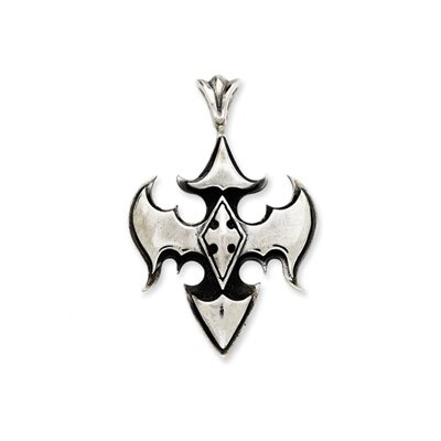 Jewelryweb Sterling Silver Antiqued Gothic Pendant