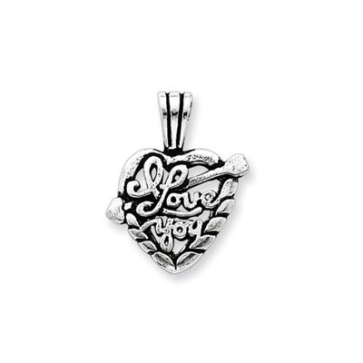 Jewelryweb Sterling Silver Antiqued I Love You Heart Pendant