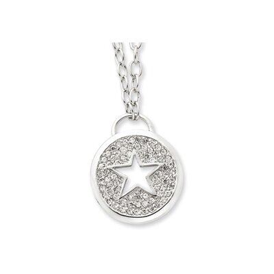 Sterling Silver CZ Star Necklace - 16 Inch- Lobster Claw