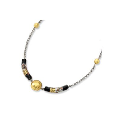 Jewelryweb Sterling Silver Murano Glass Bead Onyx Necklace - 16 Inch
