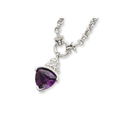 Jewelryweb Sterling Silver Purple Trillion CZ Necklace - 17 Inch- Lobster Claw