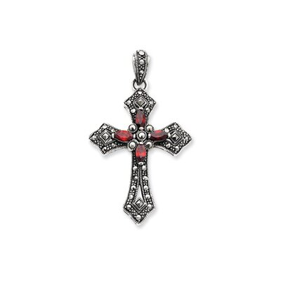 Sterling Silver Red CZ and Marcasite Cross Pendant