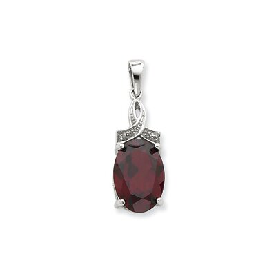 Jewelryweb Sterling Silver Rhodium Garnet and Diamond Pendant