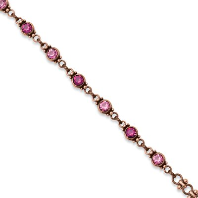 Copper-tone Faceted Light and Dark Pink Crystal Link 15.5inch With ext Necklace