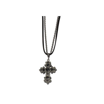 Black-plated Cross With Black Crystals Multi Strand 30inch Necklace