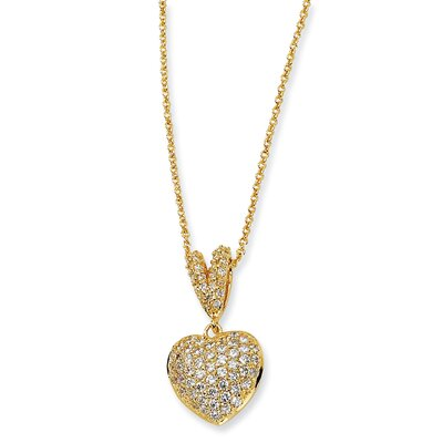 Jewelryweb Gold-plated Sterling Silver CZ Heart Necklace - 17.5 Inch