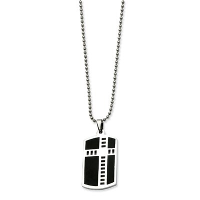 Stainless Steel Cross Black Enamel Dog Tag PendantNecklace - 24 Inch
