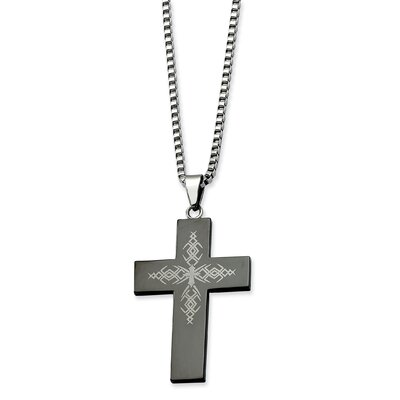 Stainless Steel Fancy Black-plated Cross Pendant Necklace - 26 Inch
