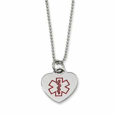 Stainless Steel Red Enamel Heart Shaped Medical PendantNecklace - 22 Inch