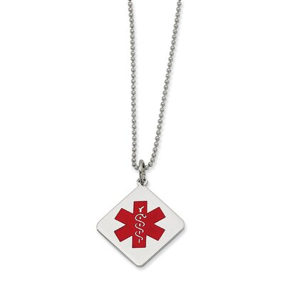 Jewelryweb Stainless Steel Red Enamel Diamond Shaped Medical PendantNecklace - 22 Inch
