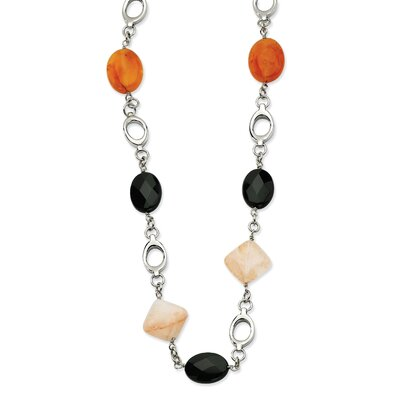 Stainless Steel Red Agate and Smoky Quartz 26 With 1inch ext. Necklace - 26 Inch ...