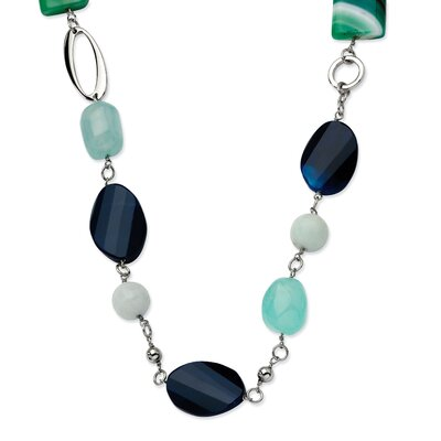 Stainless Steel Green and Black Agate 26 With 1.5inch ext. Necklace - 26 Inch