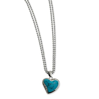 Jewelryweb Stainless Steel Blue Turquoise Heart with CZs Necklace - 28 Inch
