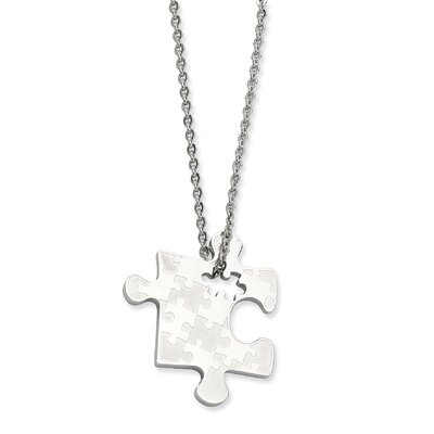 Stainless Steel Polished Puzzle Piece Pendant Necklace - 22 Inch