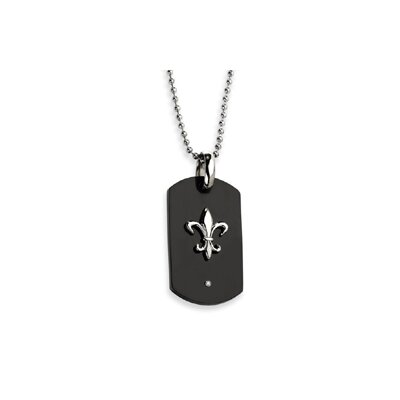 Jewelryweb Titanium with Black IP-plating Fleur de Lis Dog Tag Necklace - 24 Inch