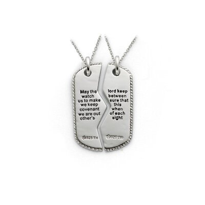 Sterling Silver Antiqued Military Dog Tag For Two 18inch Necklaces