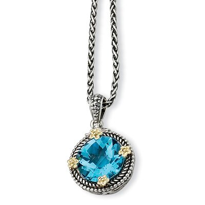 Jewelryweb Sterling Silver With 14k 6.50Swiss Blue Topaz 18inch Necklacekalce
