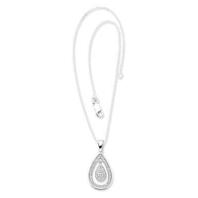 Sterling Silver and CZ Polished Teardrop Pendant