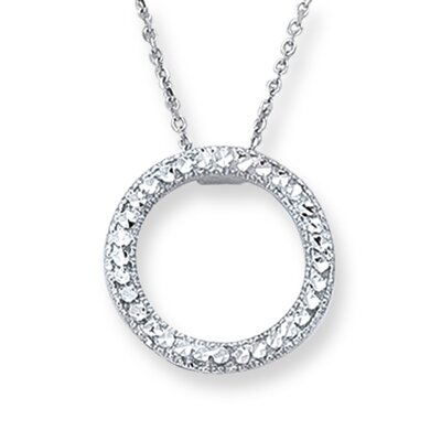 Jewelryweb 14k White Gold Fancy Pave Necklace - 18 Inch
