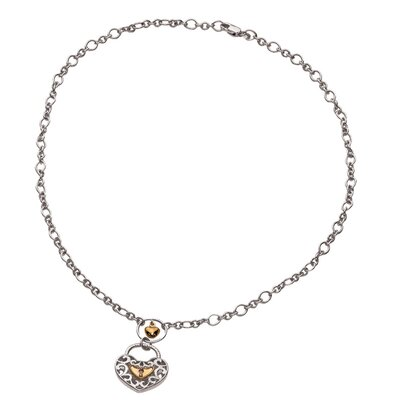 Jewelryweb Sterling Silver 14K 18 InchHeart-Lock Necklace