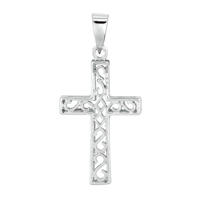 Jewelryweb Sterling Silver Rhodium Plated Cross PendantCZ