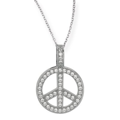 Jewelryweb Sterling Silver Rhodium Plated CZ Necklace