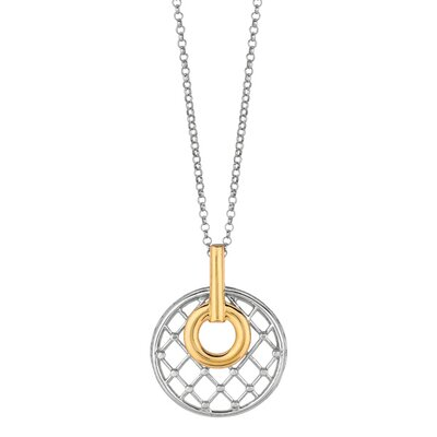 Jewelryweb Sterling Silver 14k Gold Fancy PendantChain - 18 Inch