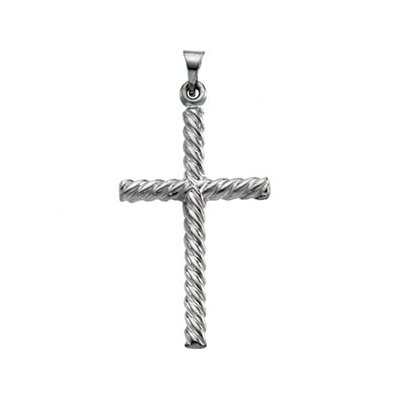 Jewelryweb 14k White Gold Cross Pendant32x20mm