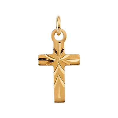 Jewelryweb 14k Yellow Gold Childrens Cross Pendant9.5x6.5mm