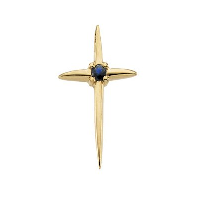 Jewelryweb 14k Yellow Gold Cross PendantWith Sapphire 17.75x1mm