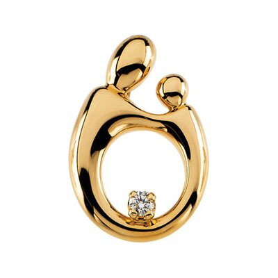 Jewelryweb 14k Yellow Gold Mother Child Lg. Diamond Pendant20.5x14mm