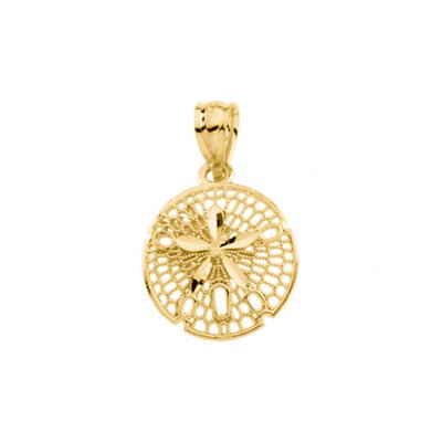 Jewelryweb 14k Yellow Gold Sand Dollar Pendant14.25x12mm