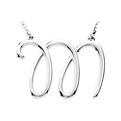 Sterling Silver Fashion Script Initial Necklace M 16 Inch