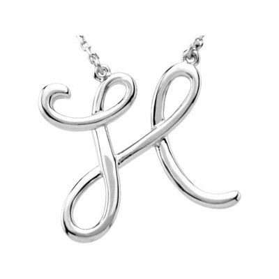 Jewelryweb 14k Gold Gold Fashion Script Initial Necklace H 16 Inch