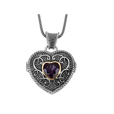 Sterling Silver Genuine Amethyst Heart Locket Necklace 1mmWith 18 InchChain