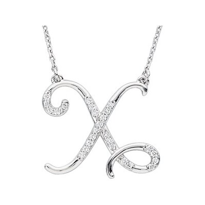 Jewelryweb Sterling Silver Diamond Necklace X 1/8ct
