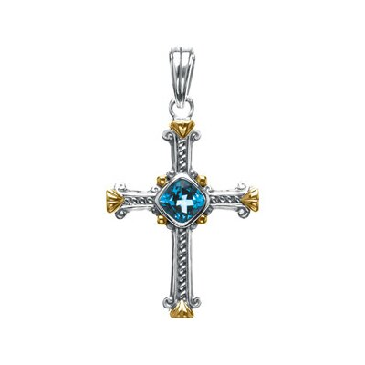 Jewelryweb Sterling Silver Genuine Swiss Blue Topaz Cross Pendant36x27.75mm