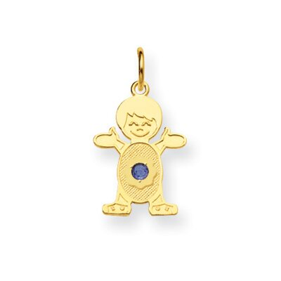 Jewelryweb 14K Boy 2.5mmSynthetic Birthstone Pendant