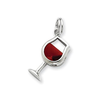 Sterling Silver Red Cubic Zirconia Wine Glass Charm